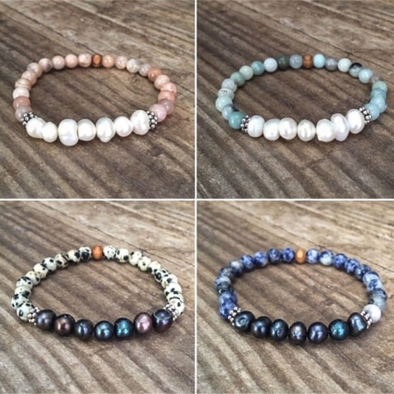Pearl multi stone stretch bracelets- set of 3-Jewelry-Womens Artisan USA American Made Clothing Accessories