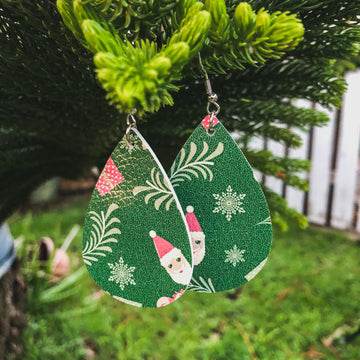 Christmas Holiday Vegan Leather Earrings