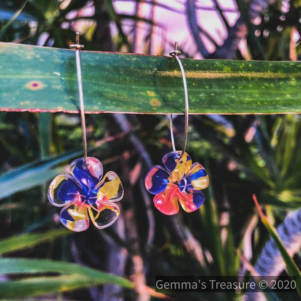 Plumeria Multi Color Earrings - Made in Hawaii