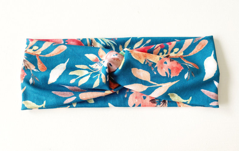 Teal Fall Floral Headband - wholesale--Womens Artisan USA American Made Clothing Accessories