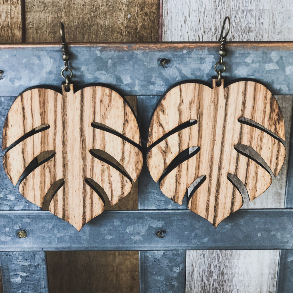 Large Monstera Zebra Wood Earrings-accessories, earrings, jewelry-Womens Artisan USA American Made Clothing Accessories