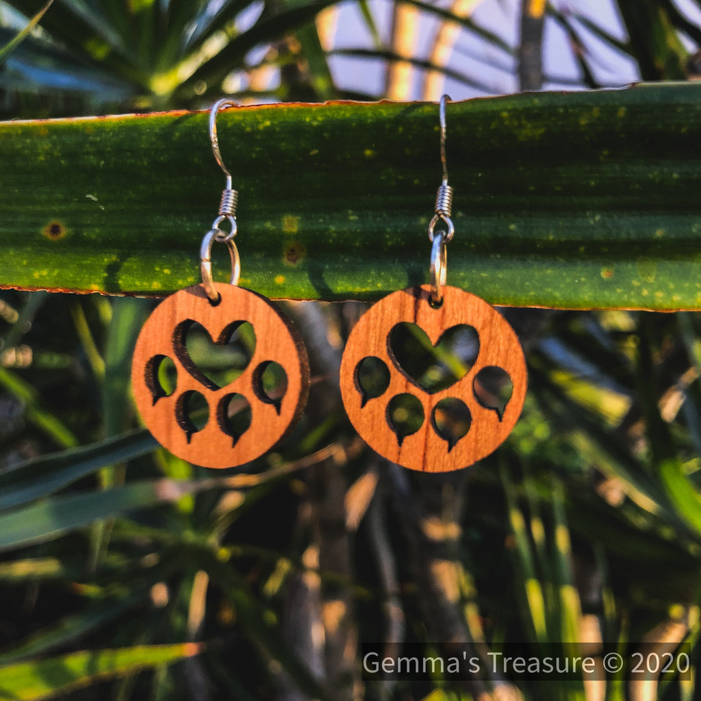 Cat Paws Wood Earrings - Made in Hawaii