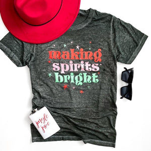 Making Spirits Bright Vintage Black-acid wash, Christmas, EOY2020, Graphic tee, Making spirits bright-Womens Artisan USA American Made Clothing Accessories