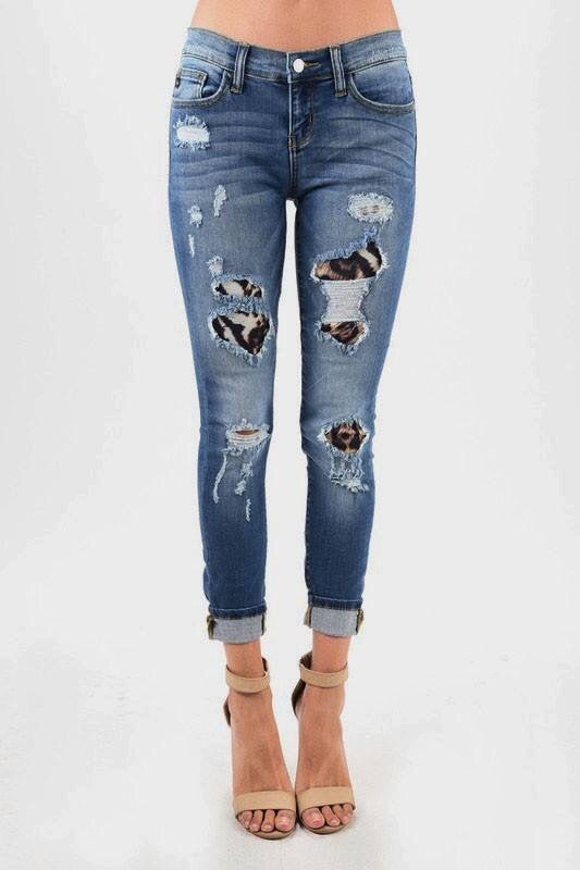 Leopard Print and Distressed Jeans--Womens Artisan USA American Made Clothing Accessories