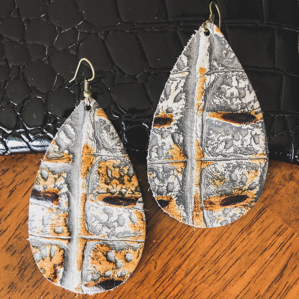 Alligator Printed Leather Earrings--Womens Artisan USA American Made Clothing Accessories