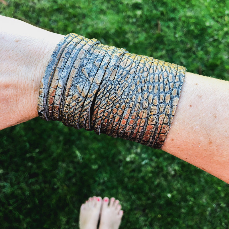 Large Leather Wrap Around Bracelet-Jewelry-Womens Artisan USA American Made Clothing Accessories