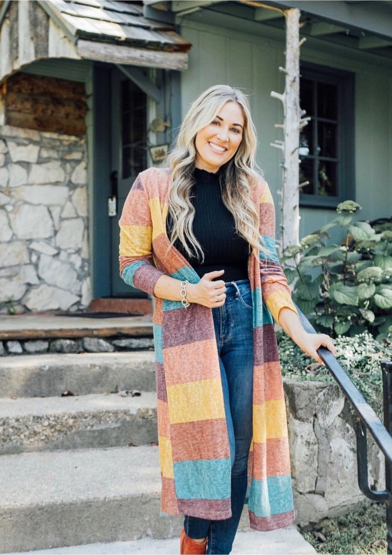 FALL Stripe Sweater-Cardigans, Outerwear, Sweater, Sweaters-Womens Artisan USA American Made Clothing Accessories