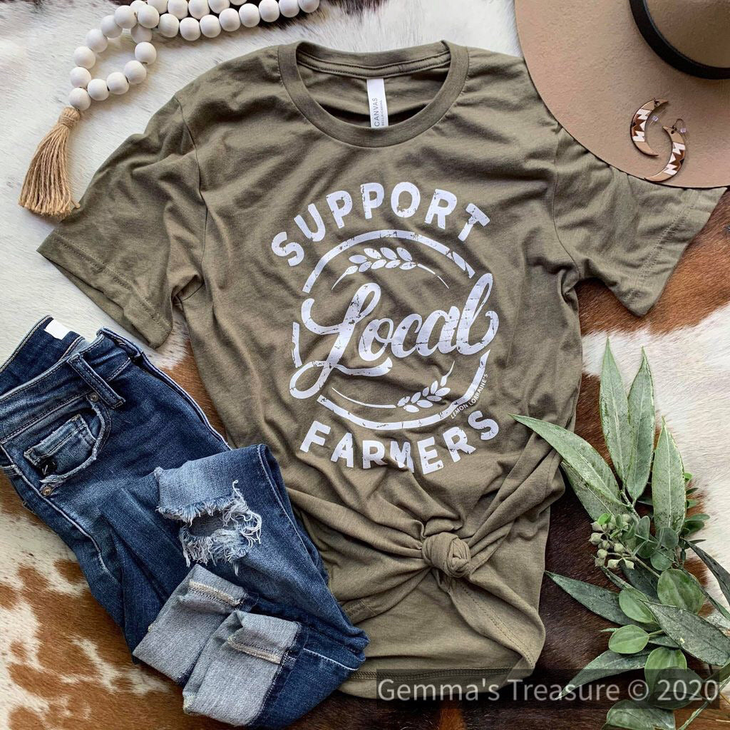 Support Local Farmers Tee in Olive-farmer, graphic tee, Graphic Tees, olive, screen printed-Womens Artisan USA American Made Clothing Accessories