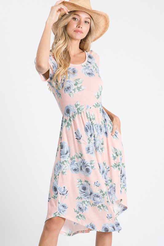 Feminine Floral Dress in Pink-1XL, 2XL, 3XL, 7-16-2020, 7-24-2020, BFCM2020, Bonus, Dresses, Final Few Friday, Group A, Group B, Group C, Group D, Large, Medium, Plus, Small, XL, XS-Womens Artisan USA American Made Clothing Accessories