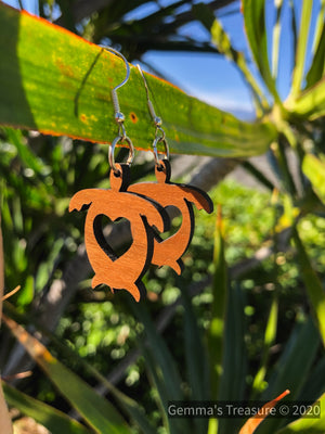 Honu Turtle With Heart Earrings - Made in Hawaii--Womens Artisan USA American Made Clothing Accessories