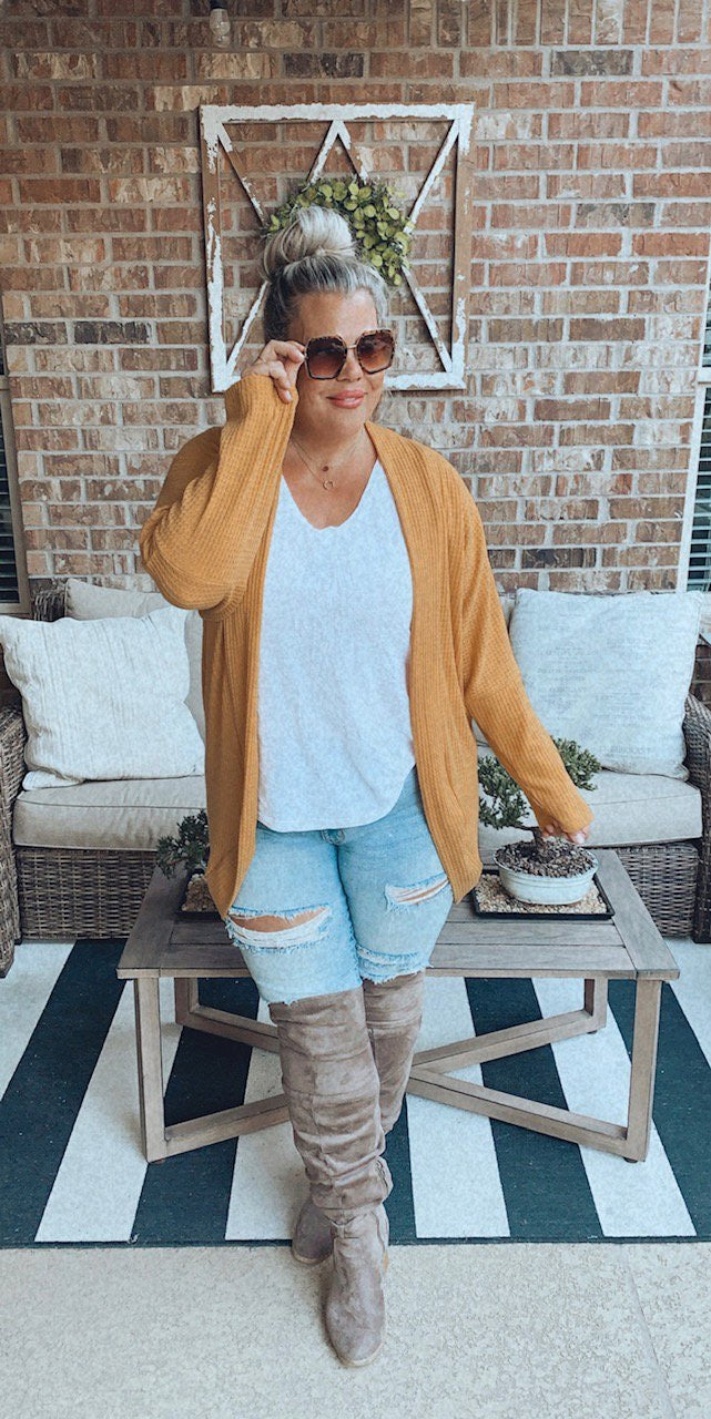 Fall's Favorite Cardigan with Thumbholes - OS--Womens Artisan USA American Made Clothing Accessories