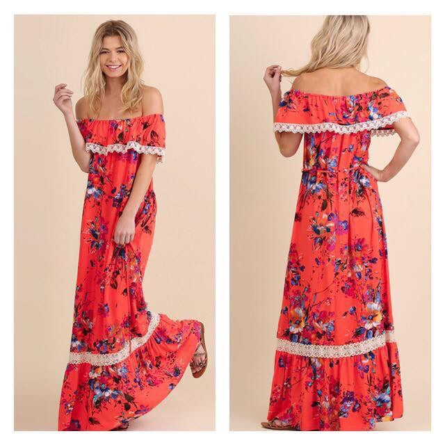 Bright Melon Off Shoulder Maxi--Womens Artisan USA American Made Clothing Accessories
