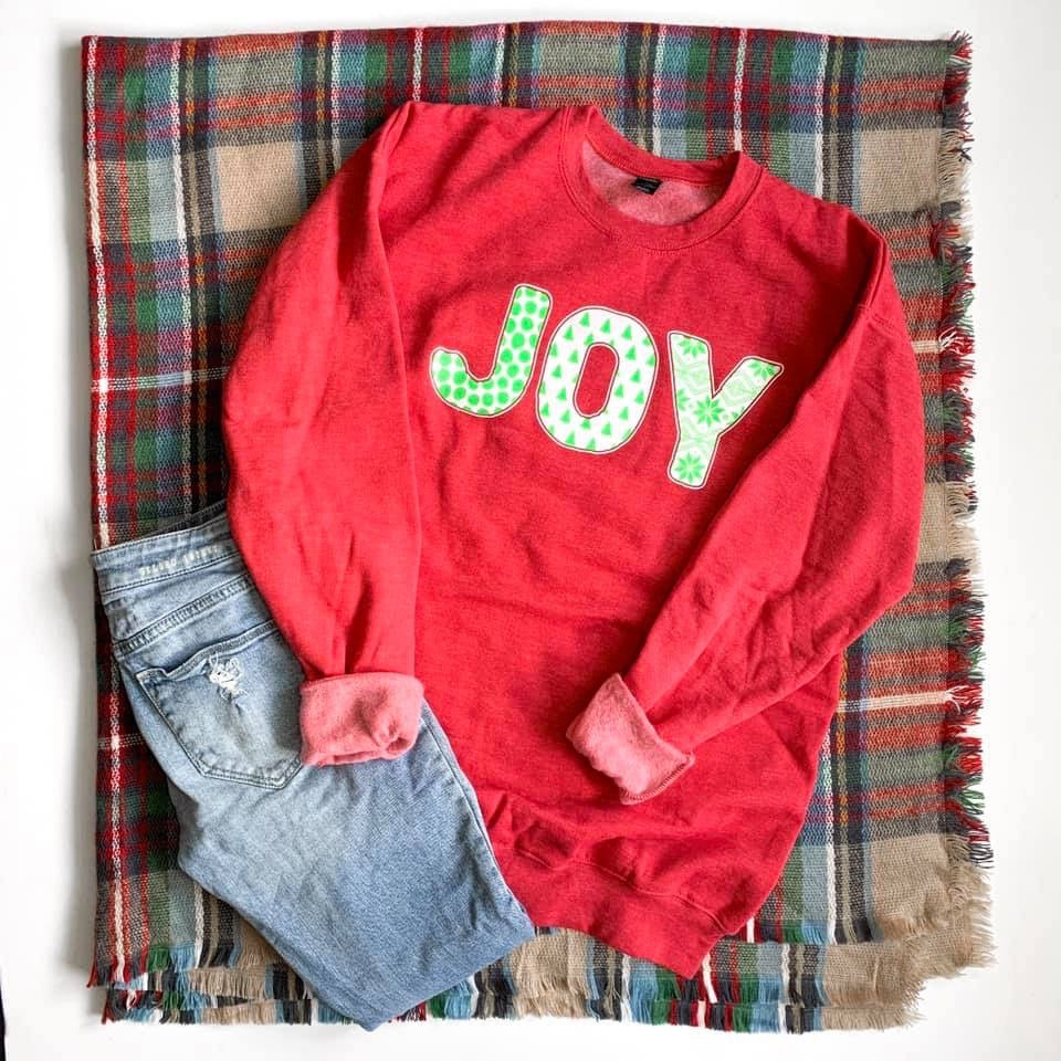 Joy Christmas Red Sweatshirt--Womens Artisan USA American Made Clothing Accessories