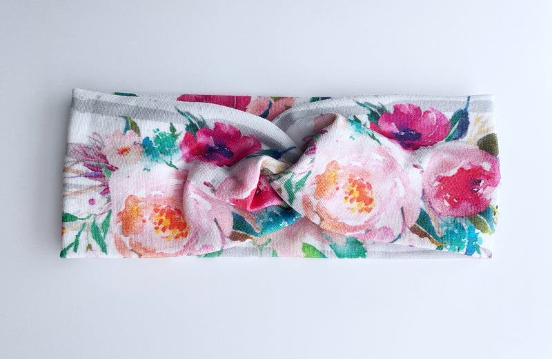 Striped Watercolor Floral Headband - wholesale--Womens Artisan USA American Made Clothing Accessories