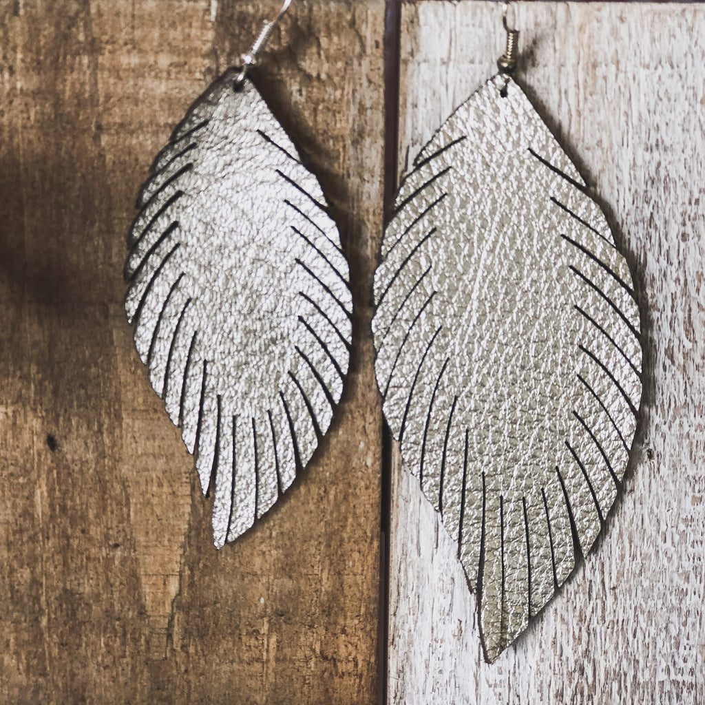 Platinum Laser Leather Feather Earrings