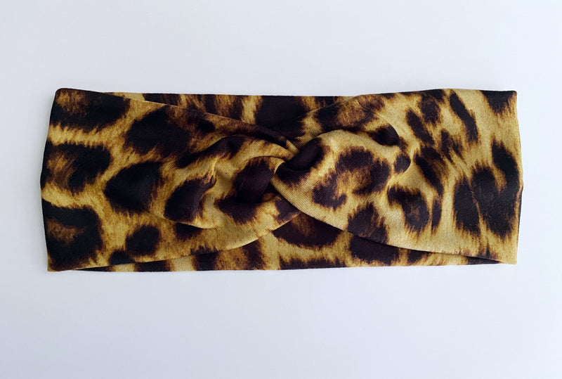 Brown cheetah Headband - wholesale--Womens Artisan USA American Made Clothing Accessories