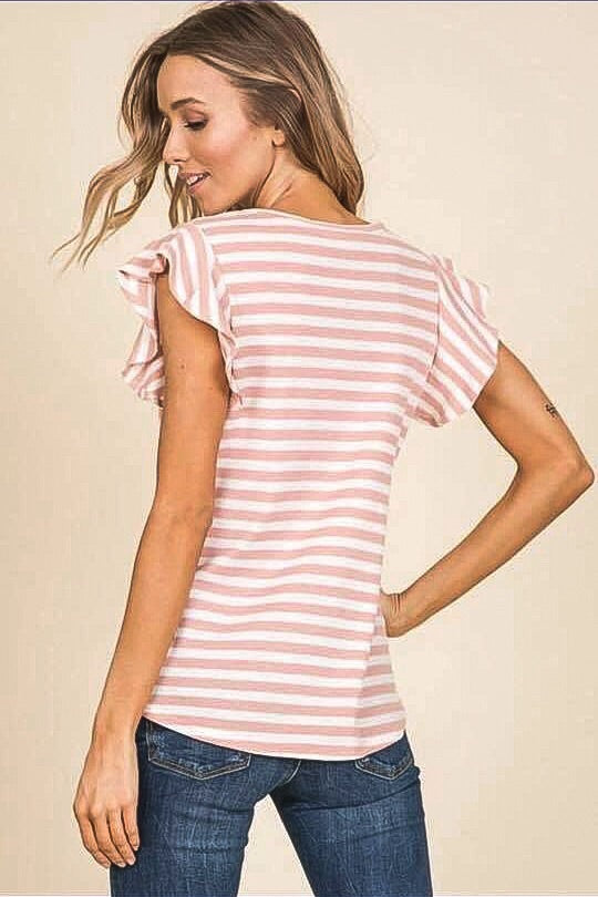 Pink Striped Top with Ruffle Sleeve-Made in the USA-Womens Artisan USA American Made Clothing Accessories