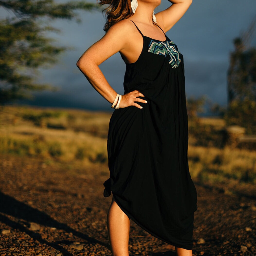 Black Pleated Maxi Dress w/accent--Womens Artisan USA American Made Clothing Accessories