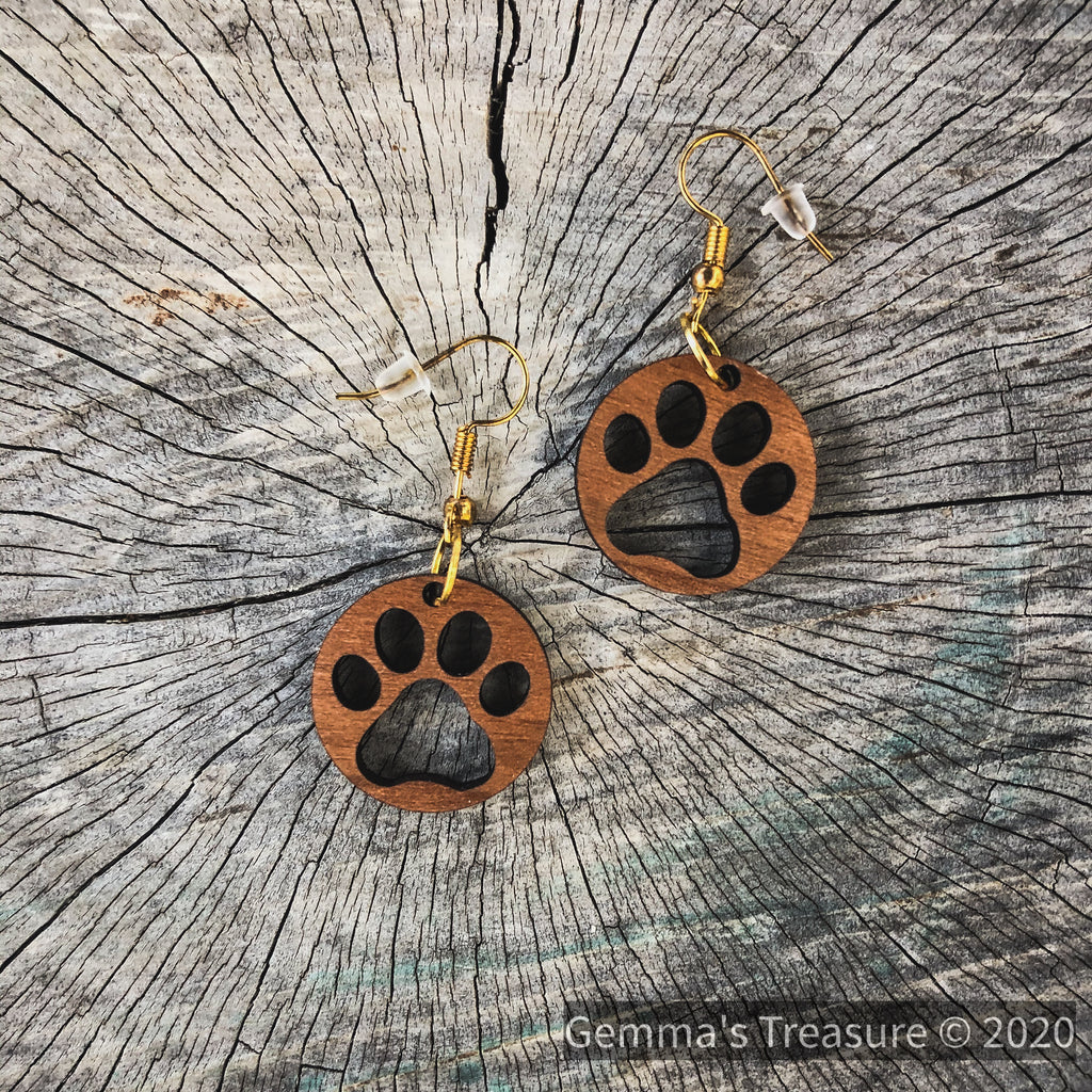 Dog Paws Wood Earrings - Made in Hawaii--Womens Artisan USA American Made Clothing Accessories