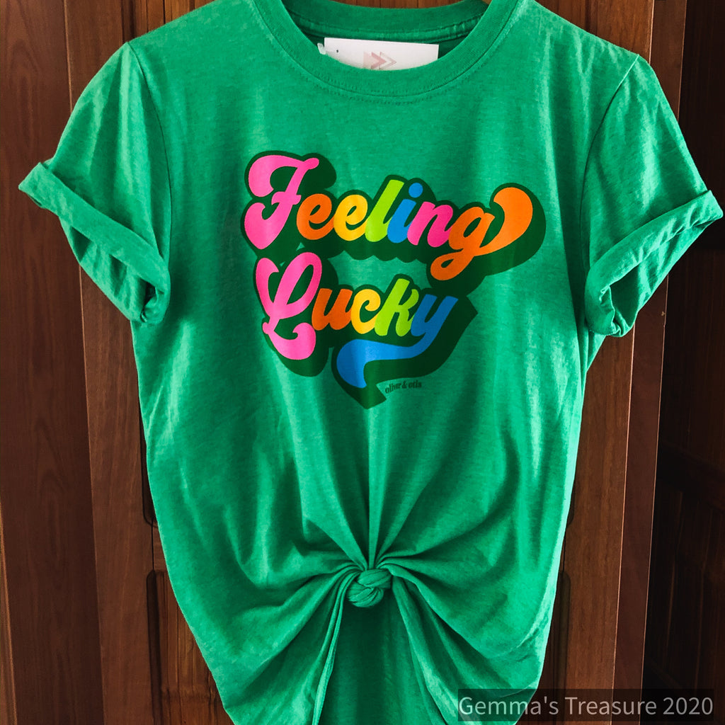 Feeling Lucky Tee-Graphic Tees, lucky tee, Made in the USA, Mens, Peppermint, Rainbow, st pattys, Tops-Womens Artisan USA American Made Clothing Accessories