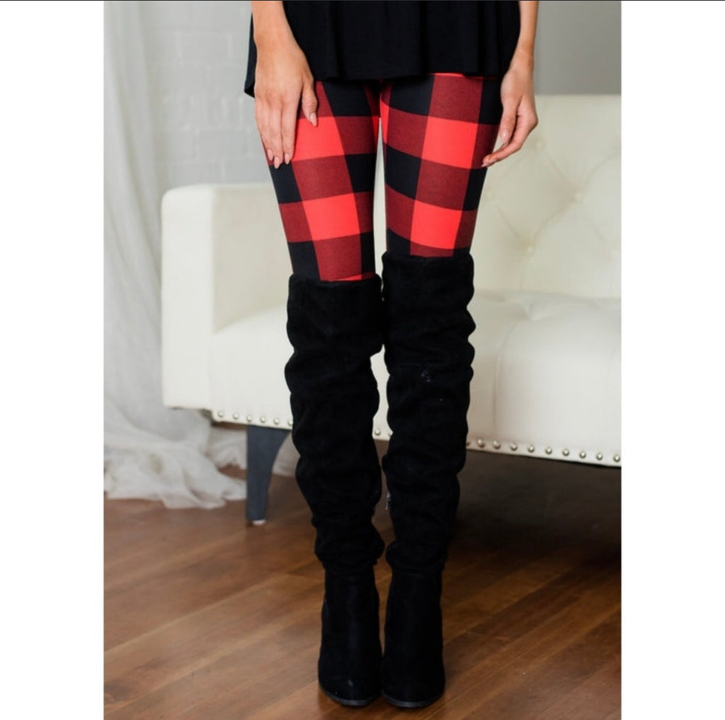 Buffalo Plaid Leggings-Bottoms, Leggings, Loungewear, Made in the USA-Womens Artisan USA American Made Clothing Accessories