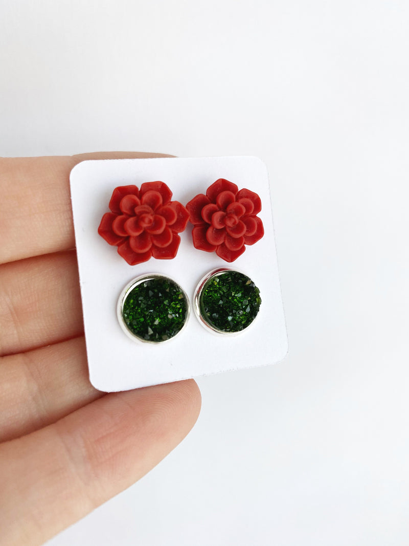 Double Earring Set - Red Succulent / Forest Green--Womens Artisan USA American Made Clothing Accessories