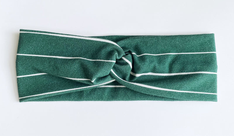 Hunter Green Stripe Headband - wholesale--Womens Artisan USA American Made Clothing Accessories