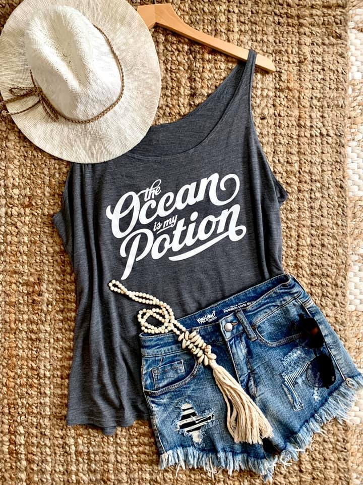 The Ocean is my Potion Tee Tank--Womens Artisan USA American Made Clothing Accessories