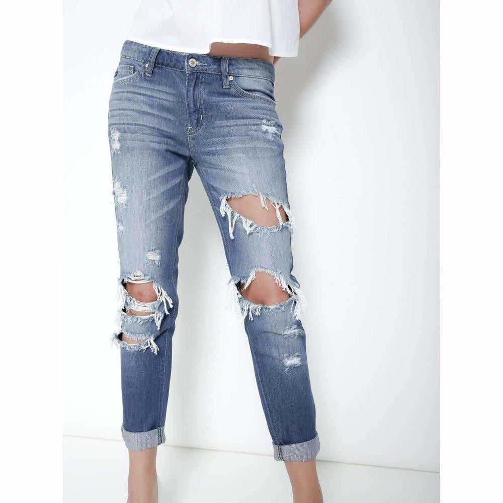 Distressed Boyfriend Jeans--Womens Artisan USA American Made Clothing Accessories