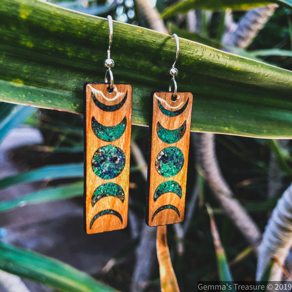 Lunar Ombré Wood Earrings--Womens Artisan USA American Made Clothing Accessories