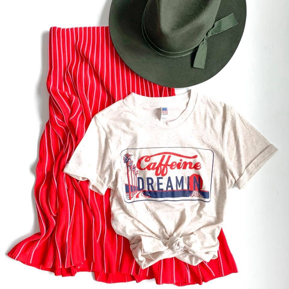 Caffeine Dreamin Tee-Made in the USA-Womens Artisan USA American Made Clothing Accessories