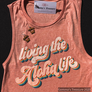 Living The Aloha Life - Hawaii-Aloha, casual attire, Hawaii, Retro, Summer, Tank Top, Vintage, Women's-Womens Artisan USA American Made Clothing Accessories