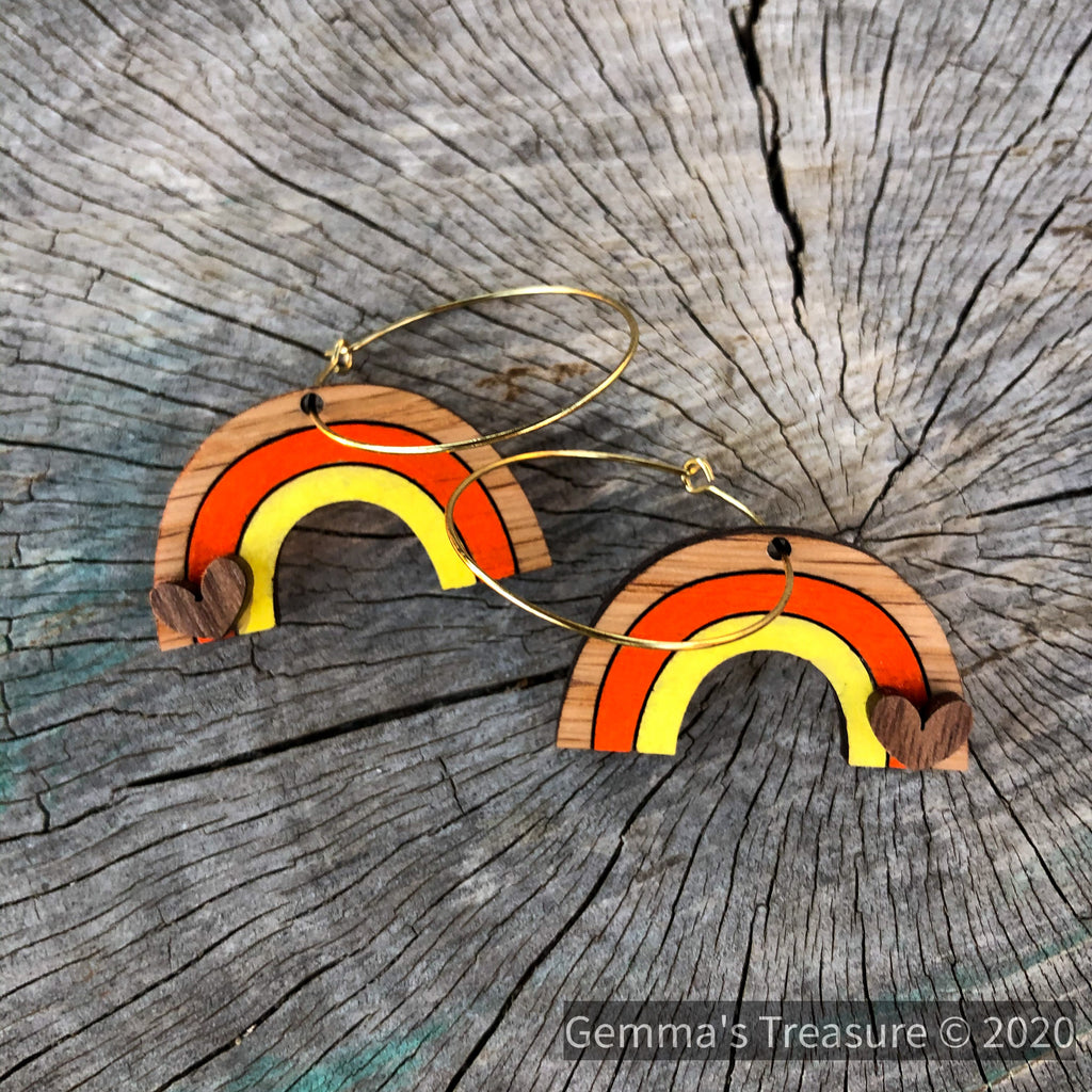 Hand painted Rainbow 🌈 Earrings--Womens Artisan USA American Made Clothing Accessories