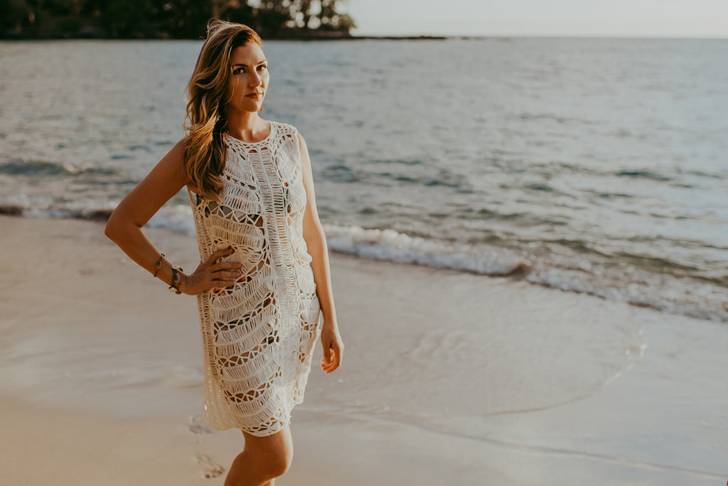 White Crochet Dress & Coverup with Melon Slip--Womens Artisan USA American Made Clothing Accessories