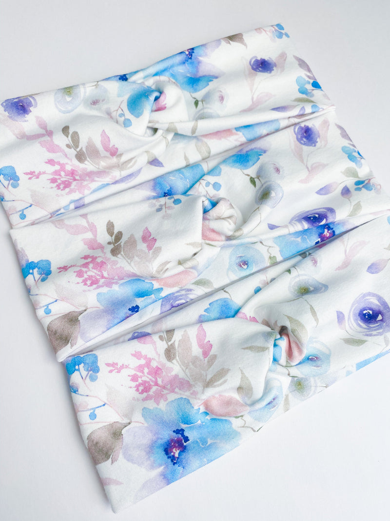 Blue Sugar Blooms Headband-Accessories, Hair, Headband, Made in the USA-Womens Artisan USA American Made Clothing Accessories