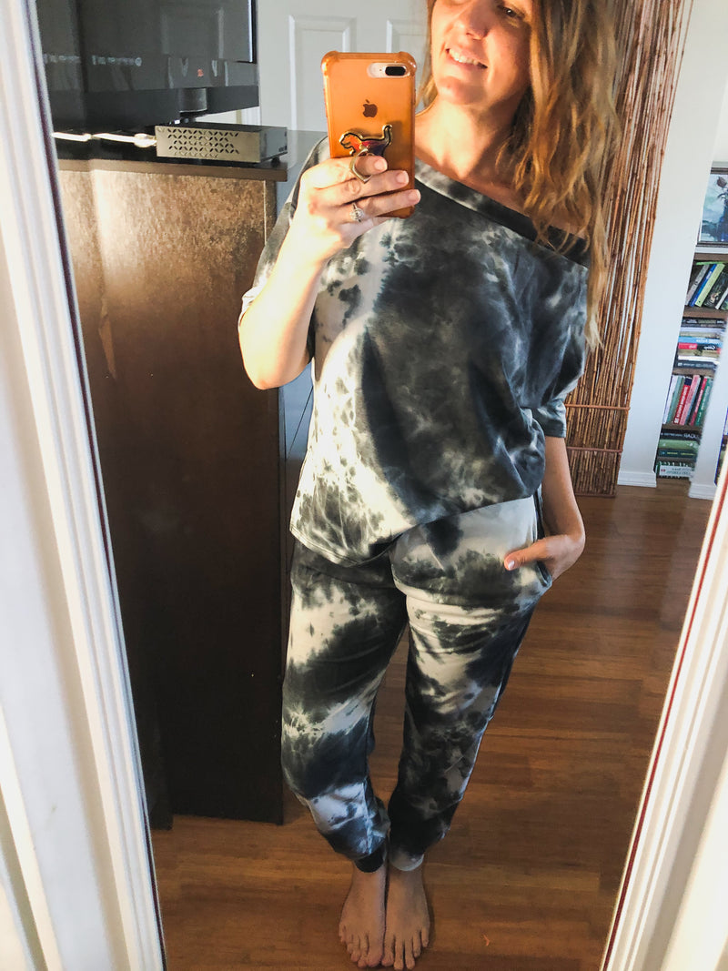 Ellis Tie Dye Jogger Set Black and White--Womens Artisan USA American Made Clothing Accessories