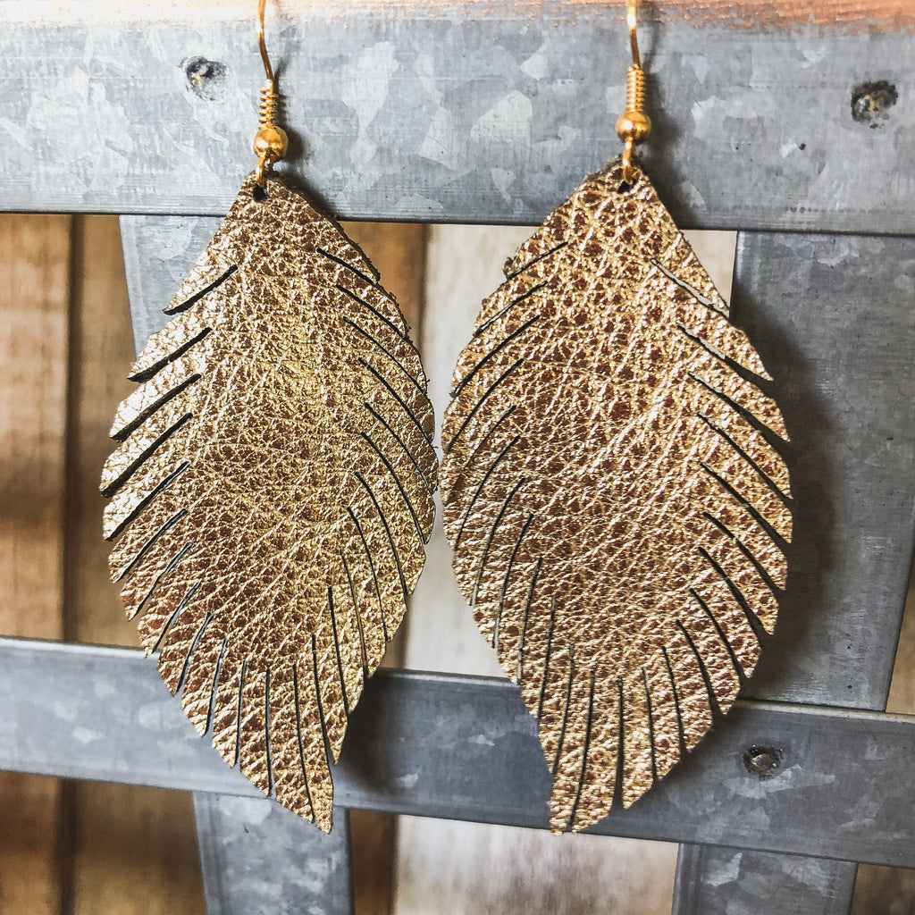 Gold Laser Leather Feather Earrings