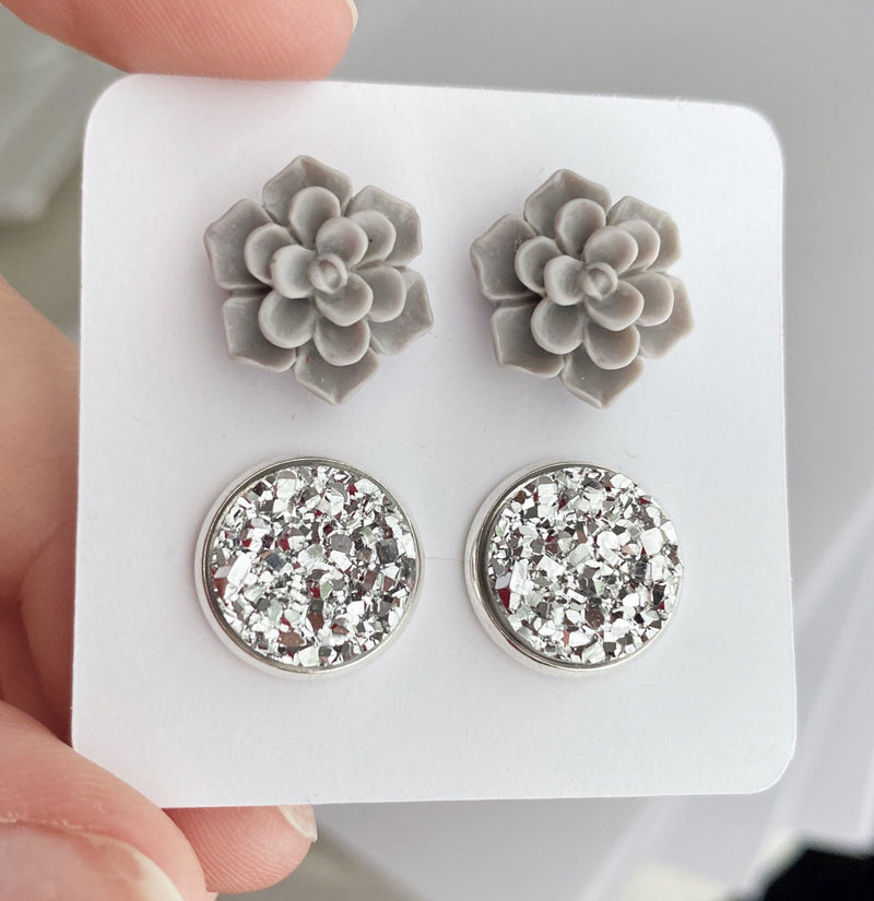 Double Set - Gray Succulent - wholesale--Womens Artisan USA American Made Clothing Accessories