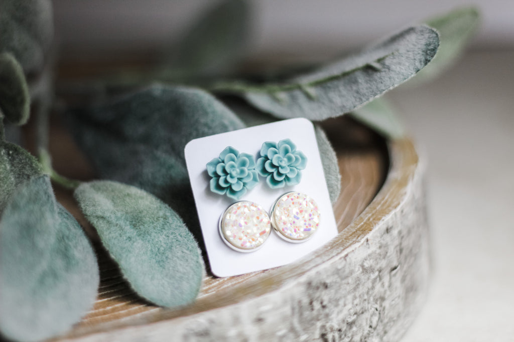 Double Set - Mint Succulent - wholesale-Made in the USA-Womens Artisan USA American Made Clothing Accessories
