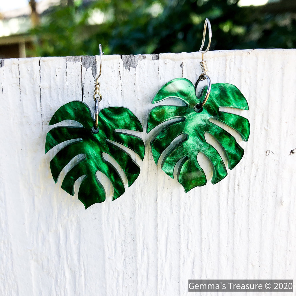 Iridescent Green Monstera Earrings - Made in Hawaii-accessories, earrings, jewelry-Womens Artisan USA American Made Clothing Accessories