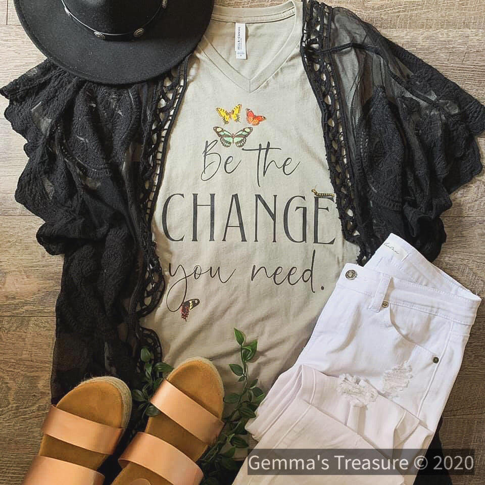 Be The Change You Need-Graphic Tees, Made in the USA, On hand, Tops-Womens Artisan USA American Made Clothing Accessories