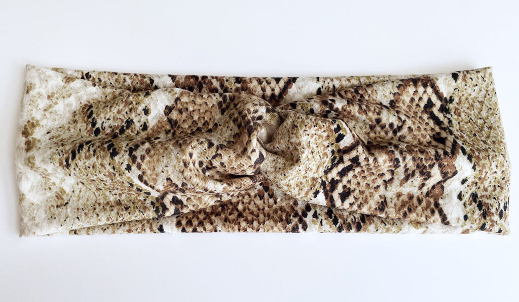 Brown Snakeskin Headband - wholesale--Womens Artisan USA American Made Clothing Accessories