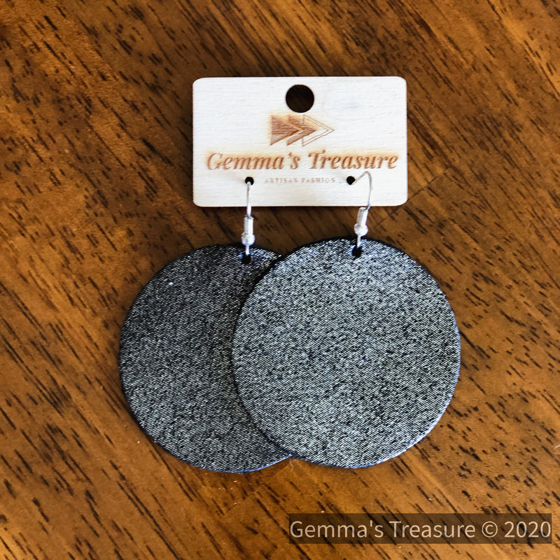 Leather Round Earrings - Multiple Colors--Womens Artisan USA American Made Clothing Accessories