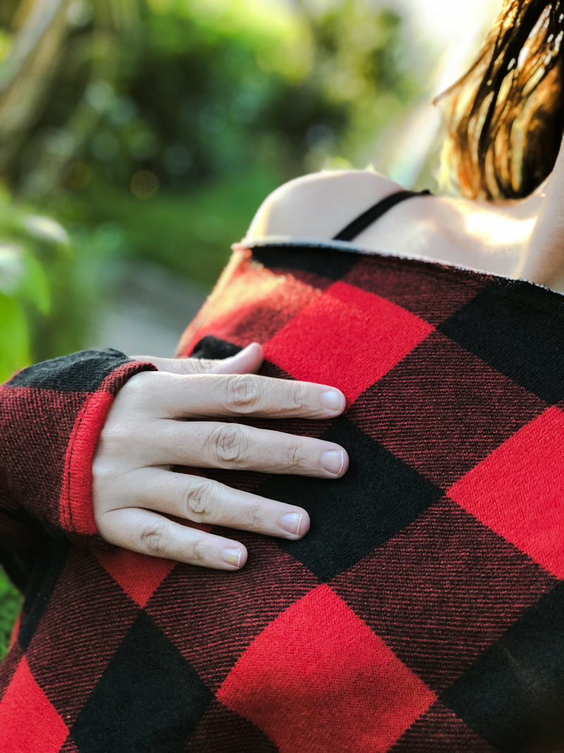 Red and Black Buffalo Plaid-L/XL-Womens Artisan USA American Made Clothing Accessories