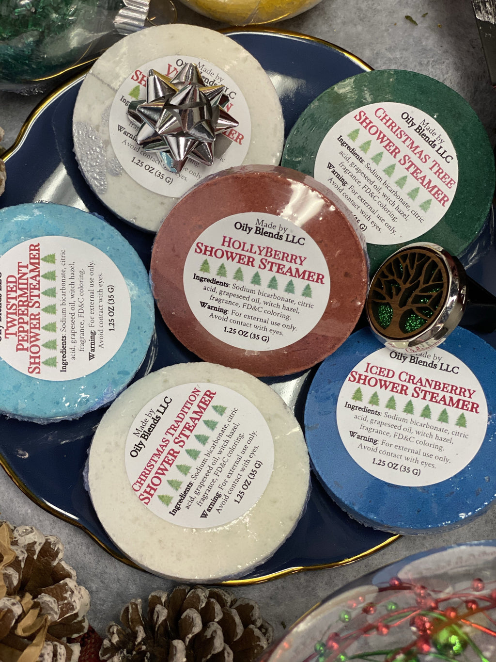 Christmas Shower Steamers--Womens Artisan USA American Made Clothing Accessories