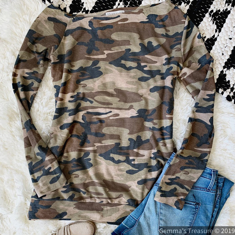 Camo Off Shoulder Top w/ Thumbholes-camo, Made in the USA, Off Shoulder, Thumb holes-Womens Artisan USA American Made Clothing Accessories