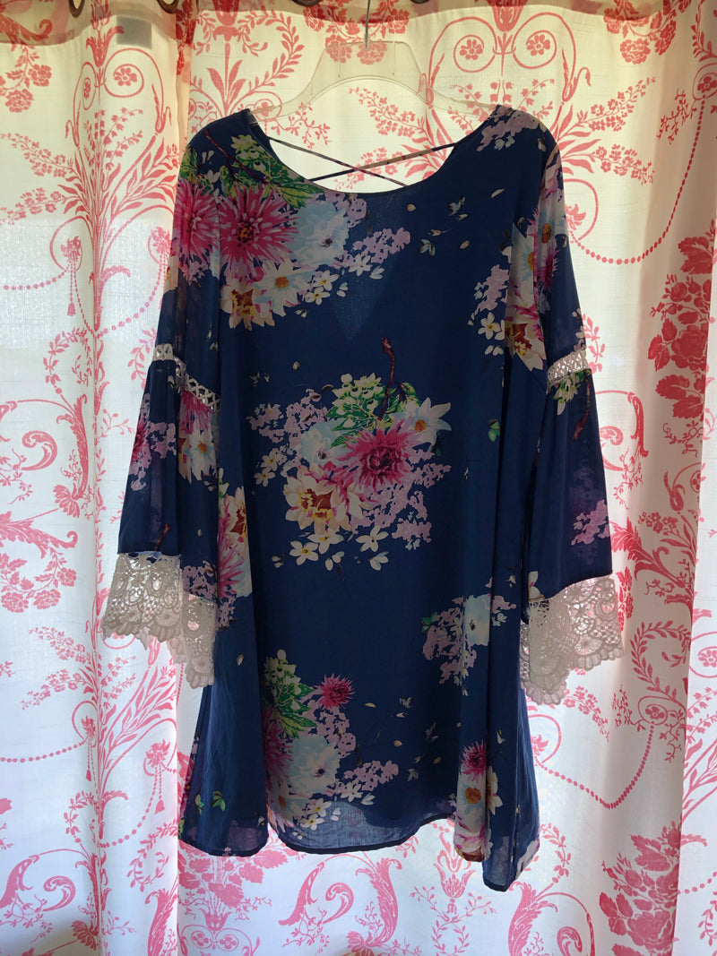 Blue Floral Dress--Womens Artisan USA American Made Clothing Accessories