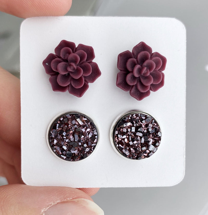 Double Set - Burgundy Succulent - wholesale--Womens Artisan USA American Made Clothing Accessories