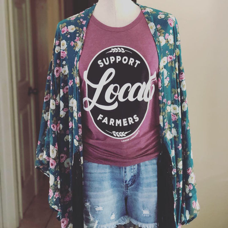 Support Local Farmers Crew Tee--Womens Artisan USA American Made Clothing Accessories