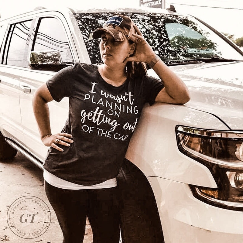 I Wasn't Planning On Getting Out Crew Tee-Graphic Tees, scoop neck-Womens Artisan USA American Made Clothing Accessories